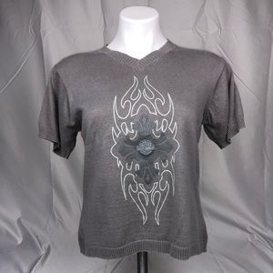 Harley Davidson Grey Short Sleeve Knit T Shirt Top